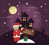 Prentbriefkaar voor Vrolijke Kerstmis Ilustration is in beeldverhaalstijl Santa Claus-de nacht geeft een gift Stock Foto