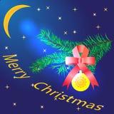 Prentbriefkaar - Vrolijke Kerstmis Stock Fotografie