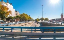Prentbriefkaaren van Spanje Politie & Verkeer & mensen in beweging in de Stad van Madrid Royalty-vrije Stock Foto