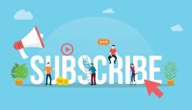 Prenumerera begreppet för socialt massmedia för kanalen det videopd med pilklickknappen och folk som tillsammans arbetar som lage vektor illustrationer