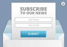 Prenumerera till informationsbladrengöringsduken och mallen för app-formvektor Arkivfoto