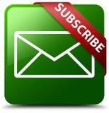 Prenumeruje email ikony zieleni kwadrata guzika Obrazy Stock