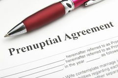 Prenup agreement. Closeup of a marriage prenuptial agreement Stock Photos