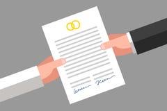 Prenuptial överenskommelse som undertecknas av maken och frun Royaltyfria Bilder