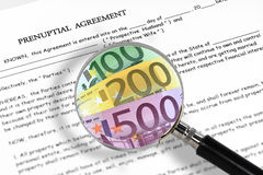Prenuptial agreement. Concept with magnifying glass and euro notes. Read carefully between the lines , it's all about money Stock Image