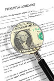 Prenuptial agreement. Concept with magnifying glass and dollar note. Read carefully between the lines , it's all about money Royalty Free Stock Image
