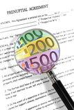 Prenuptial agreement. Concept with magnifying glass and euro notes. Read carefully between the lines , it's all about money Stock Photo