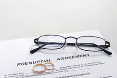 Prenuptial Agreement form and two wedding rings Royalty Free Stock Photography