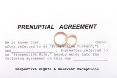 Prenuptial Agreement form and two wedding rings Stock Image