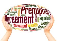 Prenuptial Agreement word cloud hand sphere concept. On white background stock image