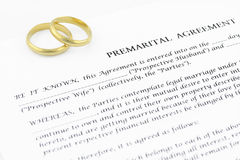 Prenuptial (voreheliche) Vereinbarung stockfotografie