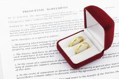 Prenuptial (voreheliche) Vereinbarung stockbilder