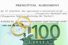 Prenuptial (voreheliche) Vereinbarung lizenzfreies stockbild