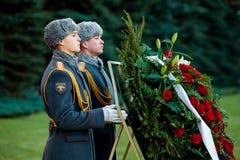 154 Preobrazhensky军团的仪仗队在步兵制服的在庄严的事件 免版税图库摄影
