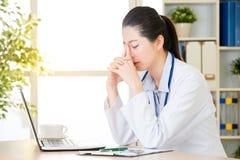 Preoccupazione di medico circa lo stato paziente del ` s facendo uso del computer, healthcar fotografia stock