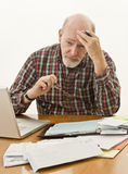 Preoccupazioni dei soldi di pensione Fotografia Stock