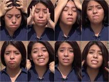 Preocupación de la tensión y collage adolescente femenino infeliz Foto de archivo libre de regalías