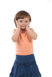 Preocupado três anos de menina idosa Imagem de Stock