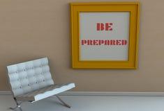 PREPÁRESE, mensaje en marco fotos de archivo