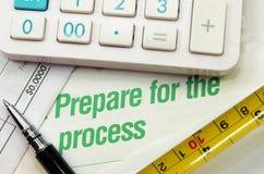 Prepárese para el proceso impreso en un libro imagen de archivo libre de regalías