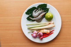 Prep cook shrimp soup Royalty Free Stock Photography