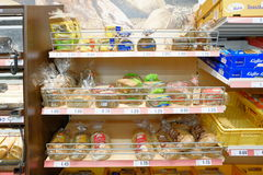 Prepackaged bread. Prepacked bread in a supermarket for your concepts Royalty Free Stock Image