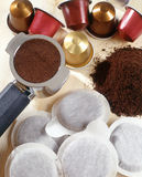 Prepackaged coffee portion for filtering Stock Images
