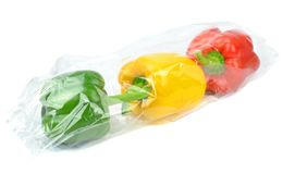 Prepacked Paprika Peppers. Fresh prepacked paprika peppers sealed in a cellophane bag Stock Photography