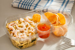 Prepacked Prawn, noodles and crackers. Ready to eat for lunch. With Chilli dip Royalty Free Stock Photography