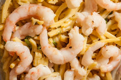 Prepacked Prawn and noodles detail. Prepacked Prawn and noodles close up. Chinese style prepacked food Royalty Free Stock Photos