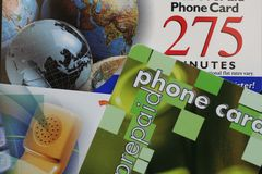 Prepaid Phone Cards. This is an image of multiple prepaid phone cards stock photography
