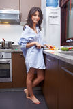 Prepapring breakfast Stock Images