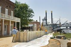 Preparação da inundação do rio Mississípi foto de stock