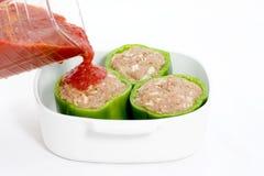 Preparação da pimenta enchida Imagens de Stock Royalty Free