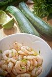 Preparação de alimento: pndo de conserva camarões fotos de stock royalty free