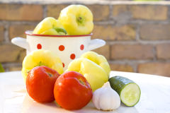 Preparação de legumes frescos Imagens de Stock