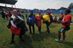 Preparação do campeonato de salto de paraquedas militar do mundo Imagem de Stock