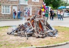 Preparação do carvão vegetal para jogos de Nestenar do búlgaro Fotografia de Stock