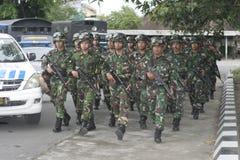 Preparação do exército nacional indonésio na cidade de Java Security de solo, central Imagem de Stock Royalty Free