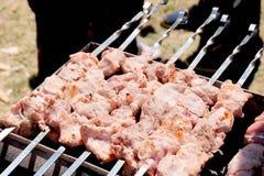 Preparação do no espeto em espetos As partes de carne amarradas em varas do metal são preparadas em carvões quentes Povos no alim foto de stock