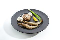 Preparação dos ingredientes para fritar em teppan Imagens de Stock