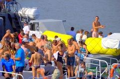 Preparação dos nadadores da maratona de Galata-Varna Fotografia de Stock