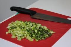Preparação misturada dos vegetais crus com a faca na placa de corte vermelha Fotografia de Stock Royalty Free