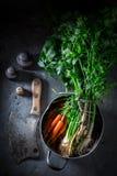 Preparação para a sopa saboroso do vegetariano com cenouras, salsa e alho-porro Imagem de Stock Royalty Free