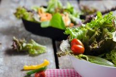 Preparação vegetal da salada no fundo da placa de madeira Imagem de Stock