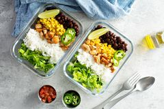 Preparação verde saudável da refeição com galinha foto de stock royalty free
