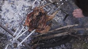 Prepara??o da galinha, ca?ando o tema Cozinhar um corpo inteiro do fais?o em espetos de um ferro sobre uma fogueira com carv?es a filme