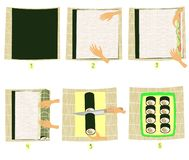 Prepara??o do sushi nas imagens Instru??o passo a passo Faz você mesmo culinária japonesa nacional Rolos do marisco e do arroz ilustração stock