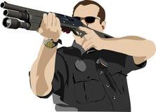 Preparación armada del policía libre illustration