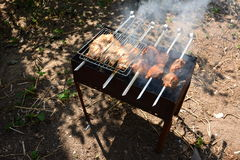 Preparación, cocinando kebabs en el carbón de leña al aire libre Fotos de archivo
